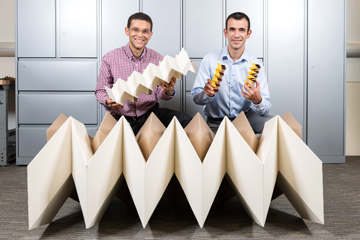 Glaucio Paulino and Evguenio Filipiv using origami in civil engineering