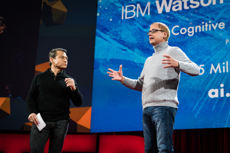 Peter Diamandis and Dave Kenny announce the IBM Watson AI XPrize at TED2016 - Dream, February 15-19, 2016, Vancouver Convention Center, Vancouver, Canada. Photo: Bret Hartman / TED