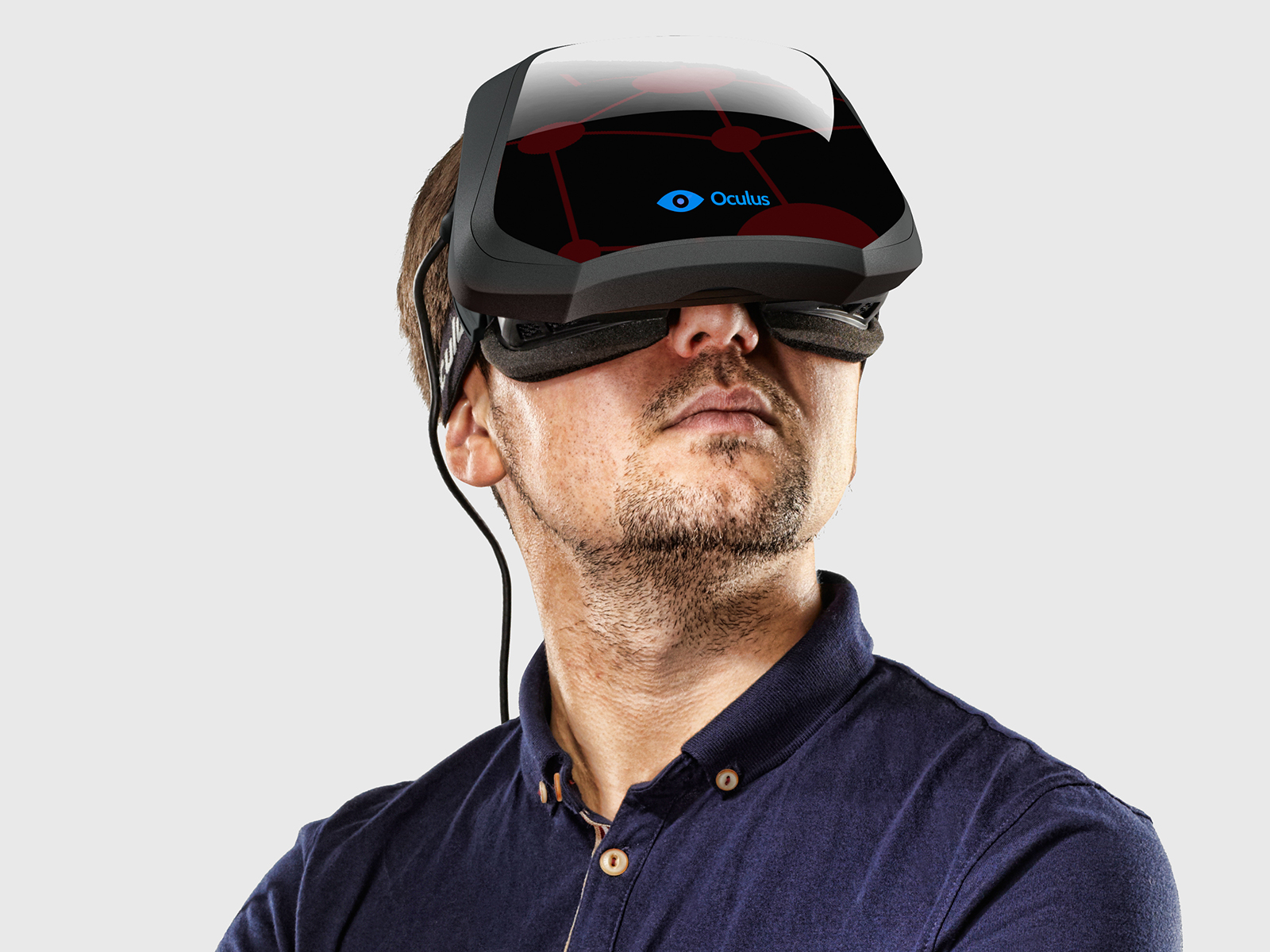 Portrait of a man wearing a development stage Oculus Rift virtual reality head-mounted display, taken on October 3, 2013. (Photo by James Looker/PC Gamer Magazine via Getty Images)