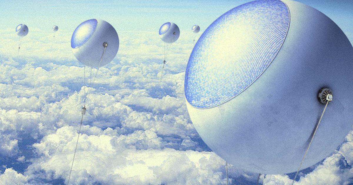 Uma fazenda solar acima das nuvens
